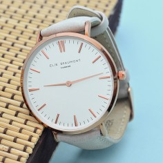 Modern - Vintage Personalised Leather Watch in Stone